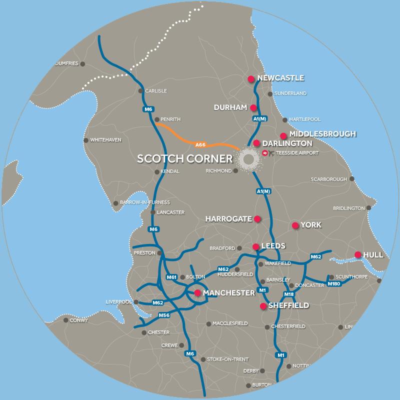 Scotch Corner Designer Village Location Map